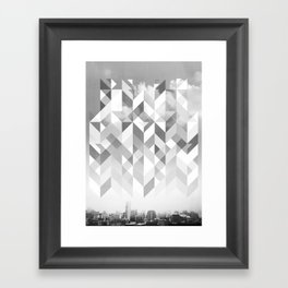 Black and white city Framed Art Print