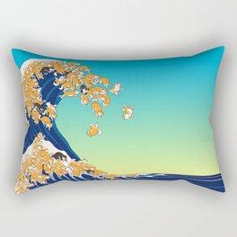 Shiba Inu in Great Wave Rectangular Pillow
