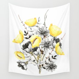 Poppies And Chicory Wildflower Bouquet Wall Tapestry