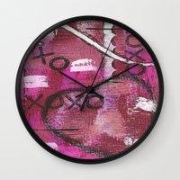 xoxo Wall Clocks featuring XOXO by Kimberly McGuiness