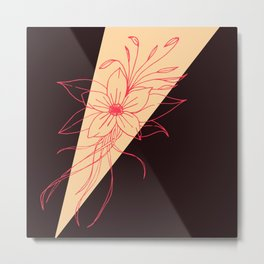 Modern Peach, Coral, and Black Floral Triangles Metal Print