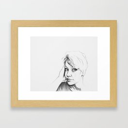 Selfie in Graphite Framed Art Print