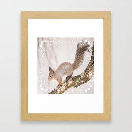 Little squirrel jumping on the branch #decor #society6 #buyart Framed Art Print