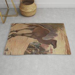 Vintage Camel Painting (1909) Rug