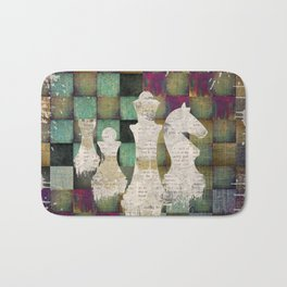 Paint and Print  Chessboard and Chess Pieces Bath Mat
