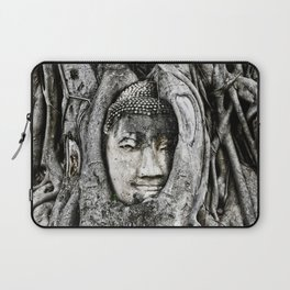 Buddha head entwined in Banyan tree roots. Laptop Sleeve