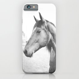 bw horse, equestrian, black and white horse, thoroughbred iPhone Case