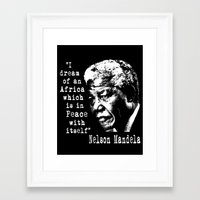 mandela Framed Art Prints featuring Mandela by PsychoBudgie