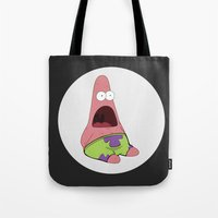 patrick Tote Bags featuring Patrick Star  by Adel
