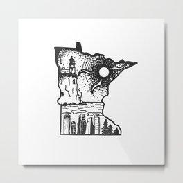 Minnesota Ink Art   Splitrock Lighthouse   Minneapolis Skyline   Twin Cities Metal Print