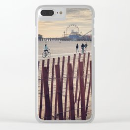 People cycling on Santa Monica beach, California, USA Clear iPhone Case