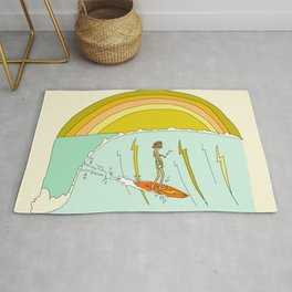 gerry lopez pipeline 70s daydreams // retro surf art by surfy birdy Rug