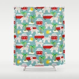 Labradoodle summer surf palm trees beaches ocean dog pattern dogs Shower Curtain