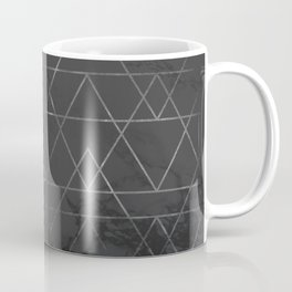 Silver Platinum Geometric Black Mable Triangle Pattern Coffee Mug