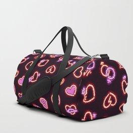 Glowing Glitter Hearts Seamless Background Duffle Bag