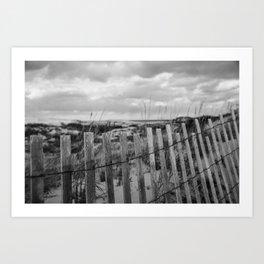 Black and White Beach Fence Art Print