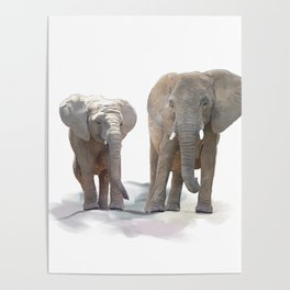 Digital Painting of  Mother and Baby Elephants Poster