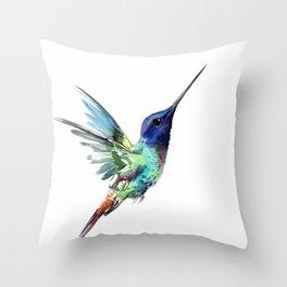 Flying Hummingbird flying bird, turquoise blue elegant bird minimalist design Throw Pillow