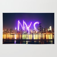 nyc Area & Throw Rugs featuring NYC  by Phil Provencio