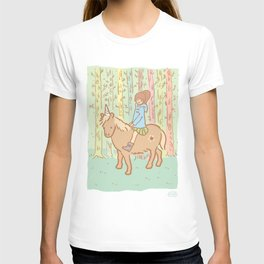 Girl in blue coat on an unicorn, in a forest T-shirt