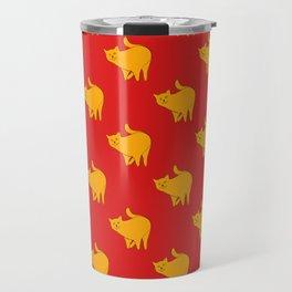Cute Yellow Cats Pattern | Red Travel Mug