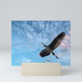 Great Blue Heron Soaring Mini Art Print