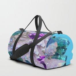 PURPLE AMETHYST  AQUAMARINE QUARTZ CRYSTAL ART Duffle Bag