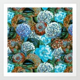 Vintage & Shabby - blue floral camellia flowers  garden watercolor pattern Art Print