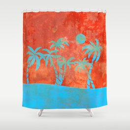 Tropical sunset with blue palm trees Shower Curtain