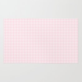 Soft Pastel Pink and White Hounds Tooth Check Rug