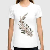 antler T-shirts featuring Floral Antler by Jessica Roux