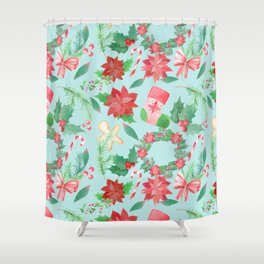 Merry Christmas Pattern (Blue Background) Shower Curtain