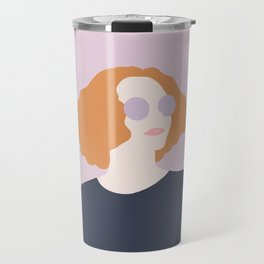 Orange Hair Girl // Minimalist Indie Rock Music Festival Lavender Sunglasses by Mighty Face Designs Travel Mug