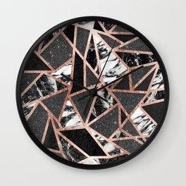 Modern Rose Gold Glitter Marble Geometric Triangle Wall Clock