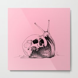 This Skull Is My Home (Snail & Skull) - Blush Pink & Charcoal Black Metal Print