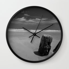 Calm beach on Assateague Island (black and white) Wall Clock