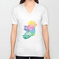 ruben ireland V-neck T-shirts featuring Typographic Ireland by CAPow!