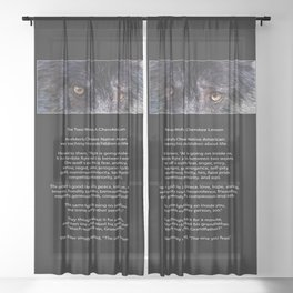 TWO WOLVES CHEROKEE  Native American Tale Sheer Curtain
