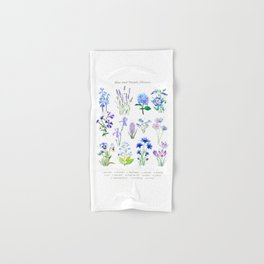 blue and purple flower collection watercolor Hand & Bath Towel