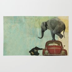 Looking for Tiny _ elephant on a red VW beetle Rug