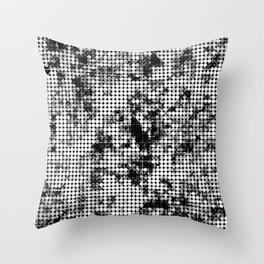 psychedelic circle pattern painting abstract background in black and white Throw Pillow