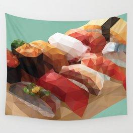 Nigiri Sushi Platter Polygon Art Wall Tapestry