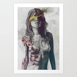 To The Marrow: Autumn (nude faceless girl in topless with lilies) Art Print
