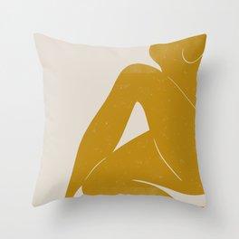 Nude Woman Sitting  Throw Pillow