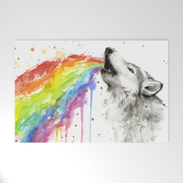 Wolf Rainbow Watercolor Animal Welcome Mat