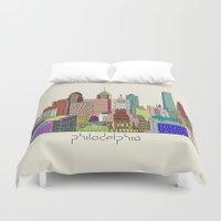 philadelphia Duvet Covers featuring Philadelphia city sklyine by bri.buckley