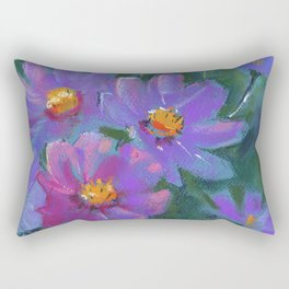 Garden flowers (Cosmos bipinnatus, Mexican aster) pastel painting on pastel paper) Rectangular Pillow