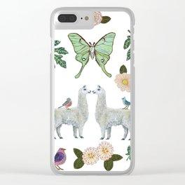 Llama and Luna Moth Clear iPhone Case