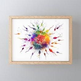 Human Fertilization Colorful Watercolor Framed Mini Art Print