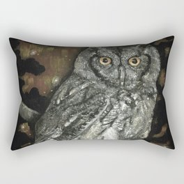 Night Vision // Owl Moon Forest Night Trees Wings Feather Screech Animal Bird Wild Wilderness Rectangular Pillow